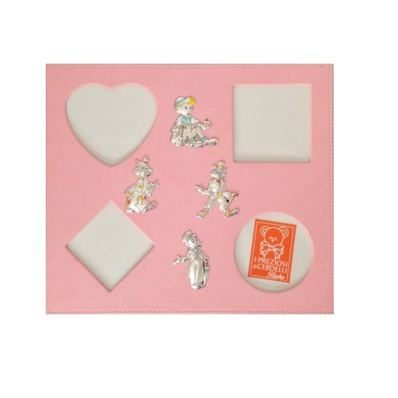 Portafoto da parete multiplo rosa con applicazioni argento for Portafoto parete
