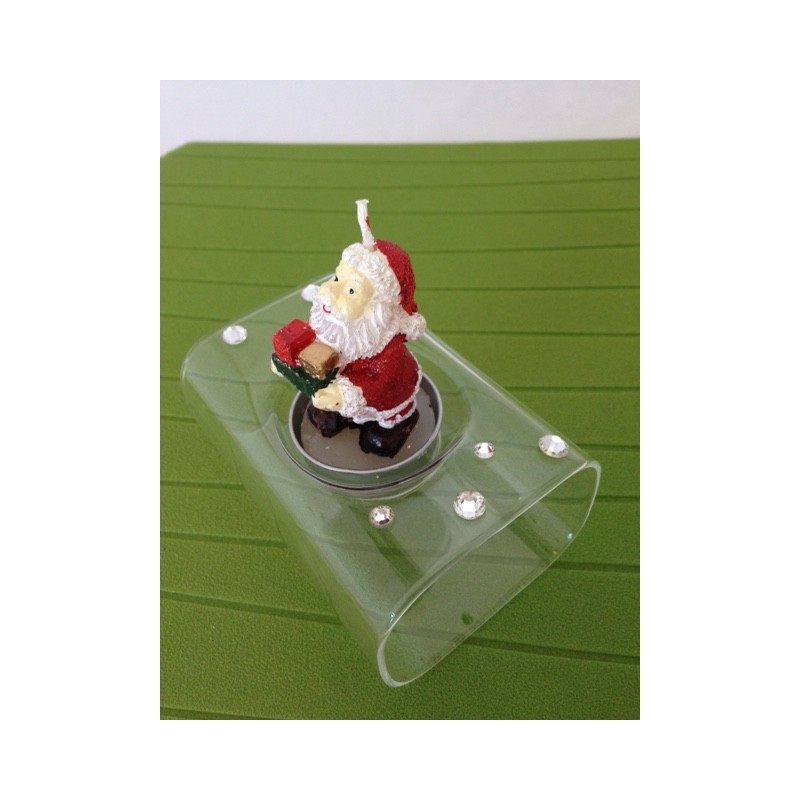 Porta candela tea light babbo natale in vetro soffiato e - Porta tea light ...