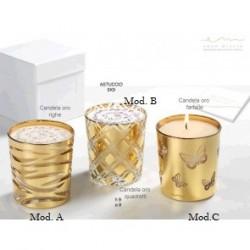 Portacandela in cristallo con foglia oro zecchino 24 k con candela profumata inclusa.
