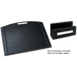 Set scrivania sottomano e porta buste in pelle nera con argento