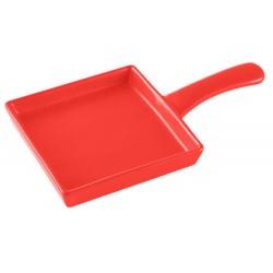 Teglia quadrata in gres rosso con manico   BRANDANI