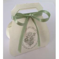Scatolina portaconfetti a borsetta decoro rose verde acqua
