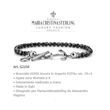 Gioielli uomo bracciale nike argento e agata nera made in
