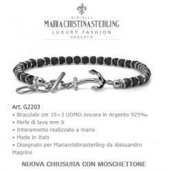 Bracciale Uomo con perle di lava e Ancora Argento 925