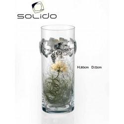 Vaso cilindrico cristallo con applic. tralcio uva