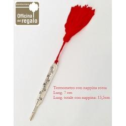 Conf. 06 Pz Termometro bomboniera met. con nappina rossa Laurea Medicina