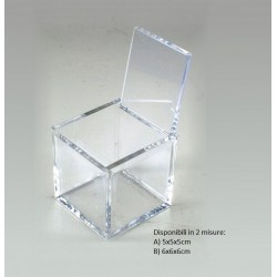 Scatolina cubo in Plexiglass trasparente Made in Italy