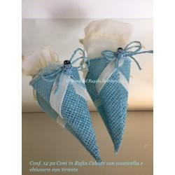 Conf. 12 Pz Coni per confetti in rafia con applicazione coccinella