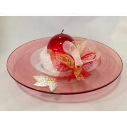 Centro tavola in cristallo tondo rosso con applicazione argento