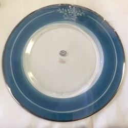 Centrotavola piatto d. 35 cristallo colorato con argento
