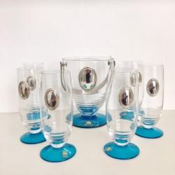 Set  7 Pz bicchieri aperitivo con porta ghiaccio e applicazione argento