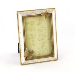 Cornice Portafoto in legno chiaro antichizzato con farfalle Royal Family