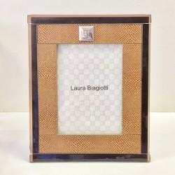 Portafoto Cornice in Pelle e vetro di Murano Laura Biagiotti