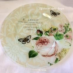 Piatto  centrotavola fiori  e farfalle in vetro