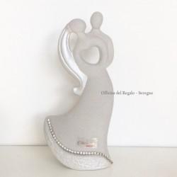 Statua coppia cuore in gres con strass e scatola regalo