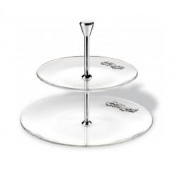 Alzata 2 piani in cristallo con applicazioni argento