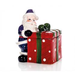 Scatola in porcellana smaltata Babbo Natale con dono