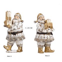 Statua di Babbo Natale con doni in resina bianca e dorata