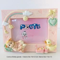 Cornice Portafoto Bimba  Rosa in resina con oggetti in rilievo