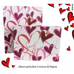 Album fotografico con cuori rosa fucsia e rossi Sweet Years