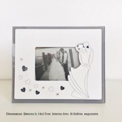 Portafoto Cornice Abbraccio Sposi con cuori e strass