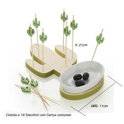 Antipastiera Porta olive in legno cactus