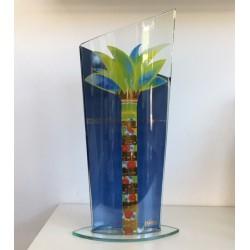 Vaso in vetro decoro Palma