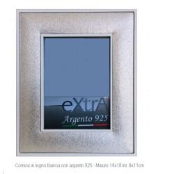 Portafoto Cornice in legno bianco con fascia argento 925