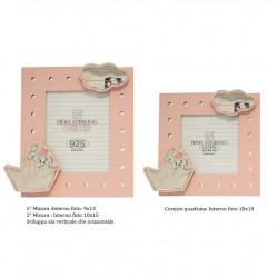 Portafoto Cornice in legno rosa con argento Bimba