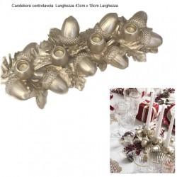 Candeliere Centrotavola dorato ghiande
