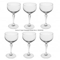 Servizio 6 Coppe Champagne Crystal Linea Bacco BRANDANI