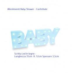 Scritta Baby Azzurro con luci Led per Baby Shower e Battesimi