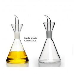 Oliera ampolla grande con beccuccio versatore in vetro borosilicato