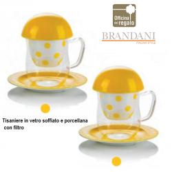 Tisaniera in vetro con filtro coperchio e piattino in porcellana gialla pois BRANDANI
