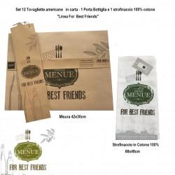 Set Regalo Tavola 14 pezzi Tovagliette Americane Strofinacci e portabottiglia For Best Friends