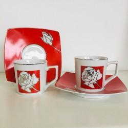 Servizio Tazzine da Caffè 12 Pz in Limoges Bordo Platino Rose Rosse