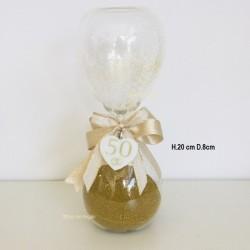Clessidra con ciondolo cuore in porcellana e sabbia oro nozze d'oro