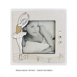 Cornice portafoto Ballerina in legno con strass