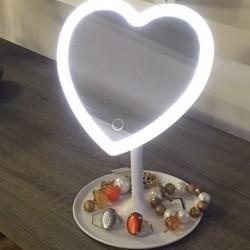 Specchio a forma di cuore con Luce Led e base svuotatasche BRANDANI
