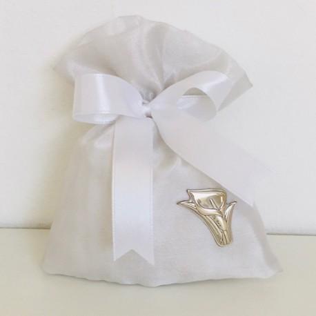 Sacchetto in raso bianco con applicazione argento 925