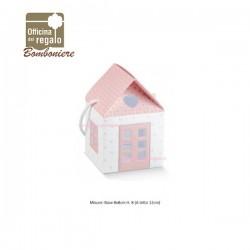 Conf. 10 Pz  Scatola casetta cuore con manico rosa