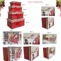 Scatole da Regalo di Natale Babbo Natale con nastro rosso