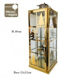 Lanterna grande in metallo dorato  e vetro con decori Abete Renna e Angeli NATALE
