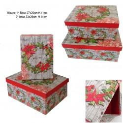 Set 2 scatole regalo in cartone decoro Ghirlanda Stella di Natale  Merry Christmas NATALE