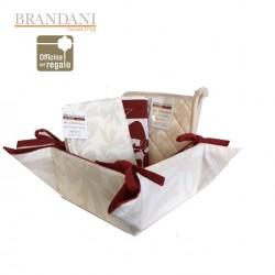 Set cestino portapane con 2 presine e 2 strofinacci Linea FIOCCO BRANDANI