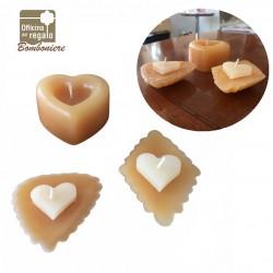 Set 3 candele profumate vaniglia a forma di pasticcino cuore