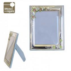 Cornice Portafoto in argento con stelle smaltate retro legno Azzurro