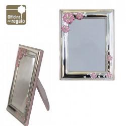 Cornice Portafoto in argento con fiori smaltati rosa Retro in legno rosa