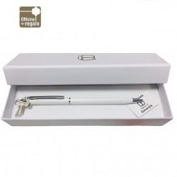 Penna laccata bianca con ciondolo Tau Personalizzabile Bomboniere