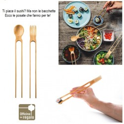 Set 2 Posate pinza e cucchiaio per Sushi Poke in bambù